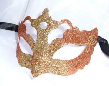 Genuine Venetian Glittered Peach & Gold half Mask